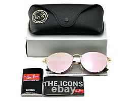 Ray-Ban RB3574N Blaze Round 001/E4 Gold Frame/Pink Mirror Lenses Unisex 59mm