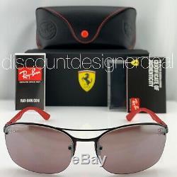 Ray-Ban RB3617M Ferrari Sunglasses F002H2 Matte Black Silver Mirror POLARIZED 62