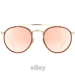 Ray-Ban RB3647N 001/7O Round Double Bridge Gold Red Sunglasses Pink Mirror Lens