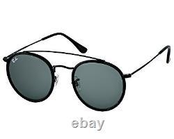 Ray-Ban RB3647N Round Double Bridge 002/R5 Black Frame/Blue Grey Classic 51mm