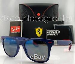 Ray-Ban RB4195M Ferrari Sunglasses F604/H0 Matte Blue Blue Mirror Polarized Lens