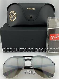 Ray-Ban RB4293CH Aviator Sunglasses 601S5J Matte Black Silver Mirror POLARIZED