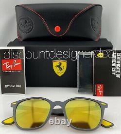 Ray-Ban RB4297M Ferrari Sunglasses F608/6B Matte Grey Yellow Mirror Polarized 51