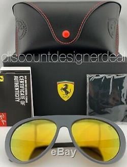 Ray-Ban RB4310M Ferrari Sunglasses F608/6B Matte Gray Yellow Mirror POLARIZED 58