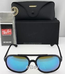 f777de90a8 Ray-Ban RB4312CH Sunglasses 601SA1 Matte Black Blue Mirror Polarized .