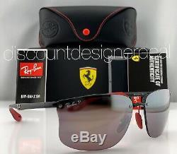 Ray-Ban RB4322M Ferrari Rimless Sunglasses F601/H2 Black Silver Mirror POLARIZED