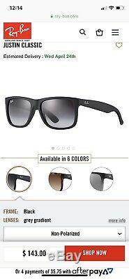 Ray-Ban Rb4165 601/8G Justin Wayfarer Sunglasses/Matte Black/Grey Gradient 54MM