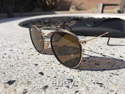 Ray-Ban Round Double Bridge Gold/Tortoise Frame With Brown Polarized Lens RB3647N