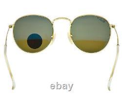 Ray-Ban Round Flash Lenses RB3447 112/4L Gold, Blue Flash Sunglasses 50mm