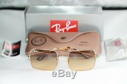 Ray Ban SQUARE Sunglasses RB1971 9150AC Gold Frame With Orange PHOTOCHROMIC Lens