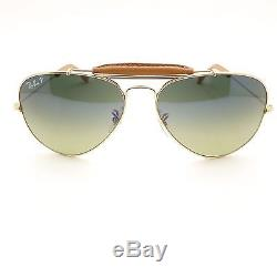 Ray Ban Sunglasses 3422Q 001/M9 Gold Light Brown Leather Outdoorsman Polarized