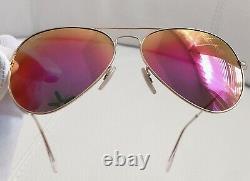 Ray-Ban Sunglasses Women Mirrored Unisex Aviator Pilot Pink Metal frame US