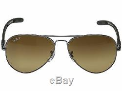 Ray Ban TECH RB 8307 004/M7 Carbon Fiber Brown Sunglasses Polarized 58mm New