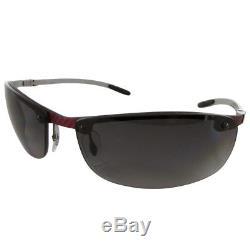 Ray Ban Tech RB8305 Carbon Fibre Semi Rimless Polarized Sunglasses, Grey/Red