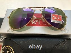 Ray-Ban Unisex Aviator VIOLET PURPLE Sunglasses Women Flash Lenses USA