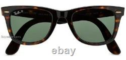 Ray-Ban Wayfarer Tortoised Polarized Sunglasses RB2140 902/58 50mm New Authentic
