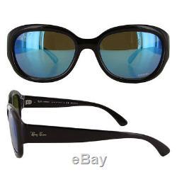 Ray Ban Womens RB4282 Chromance Rectangular Sunglasses, Black/Blue Mirror