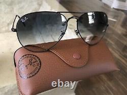 Ray Ban aviator 62mm Dark Blue Gradient Black Frame Sunglasses 002/3f