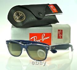 Ray-ban New Wayfarer Rb2132 605371 55mm Matte Blue-transparent / Grey Gradient
