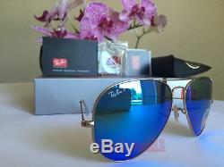Ray ban Polarized Aviator RB3025 112/4L 62 Large Blue Flash Mirror Matte Gold