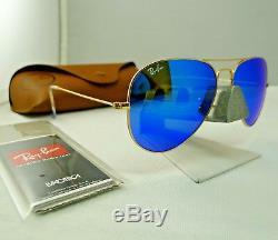 Ray-ban Rb3025 112/17 Gold Frame Blue Flash Mirror Aviator Sunglasses 58mm New