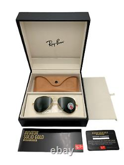 RayBan Aviator Sunglasses RB3025K 160/N5 58-14 18K Solid Gold Limited Edition