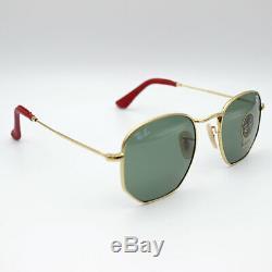 Sunglasses Ray-Ban hexagonal Scuderia Ferrari green flat lens RB3548NM 51 gold