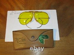 Vintage B&L Ray Ban Aviators Yellow Shooting Glasses-Gold frame with Case