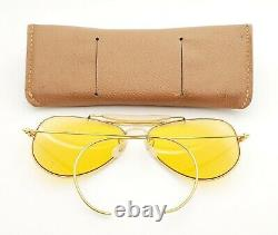 Vintage B&L Ray Ban Bausch & Lomb 58mm Ambermatic Aviator Outdoorsman withCase