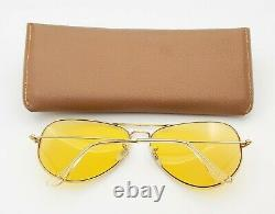 Vintage B&L Ray Ban Bausch & Lomb Ambermatic 62mm Aviator Large Metal II withCase