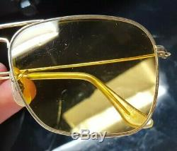 Vintage B&L Ray Ban Bausch & Lomb Ambermatic Gold Caravan Aviator 58mm with Case