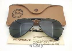 Vintage B&L Ray Ban Bausch & Lomb Black Chrome 62mm Sharpshooter Aviator withCase