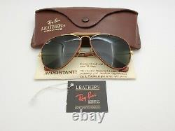 Vintage B&L Ray Ban Bausch & Lomb G15 Gray Outdoorsman Brown Leather 58mm withCase