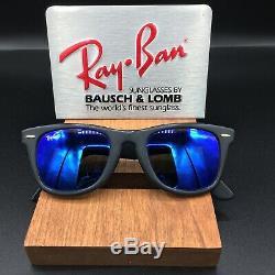 Vintage B&L Ray Ban Bausch & Lomb Matte Black Wayfarer Blue Mirror withCase