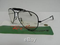 Vintage B&L Ray Ban Outdoorsman Black 58mm C8040 Aviator Frame Sunglass Eyeglass