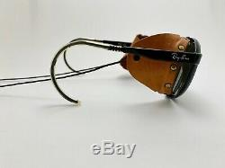 Vintage Ray Ban BL Sunglasses GLACIER ARCTIC CAT Mirrored Leather Ski Bolle