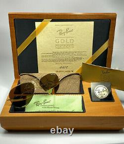 Vintage Ray Ban Full 14k Gold B&l 62mm Numbered Edition Set Sunglasses Germany